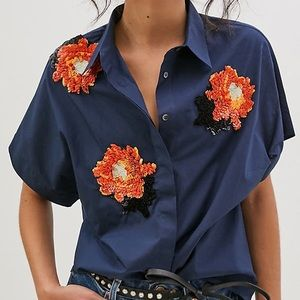 NEW Dhruv Kapoor Anthropologie Beaded Button Down